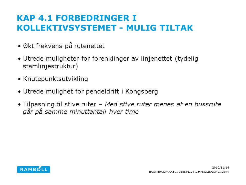 2010/11/16 BUSKERUDPAKKE 1. INNSPILL TIL HANDLINGSPROGRAM KAP 4.1 FORBEDRINGER I KOLLEKTIVSYSTEMET - MULIG TILTAK Økt frekvens på rutenettet Utrede mu