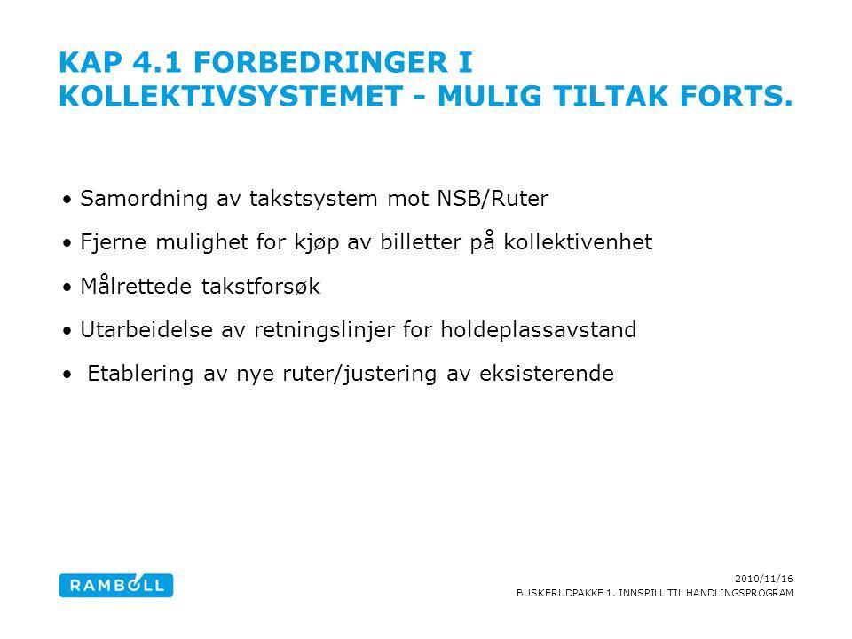 2010/11/16 BUSKERUDPAKKE 1. INNSPILL TIL HANDLINGSPROGRAM KAP 4.1 FORBEDRINGER I KOLLEKTIVSYSTEMET - MULIG TILTAK FORTS. Samordning av takstsystem mot