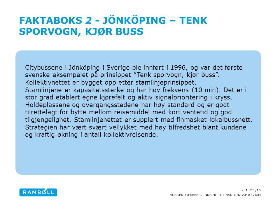 2010/11/16 BUSKERUDPAKKE 1. INNSPILL TIL HANDLINGSPROGRAM Citybussene i Jönköping i Sverige ble innført i 1996, og var det første svenske eksempelet p