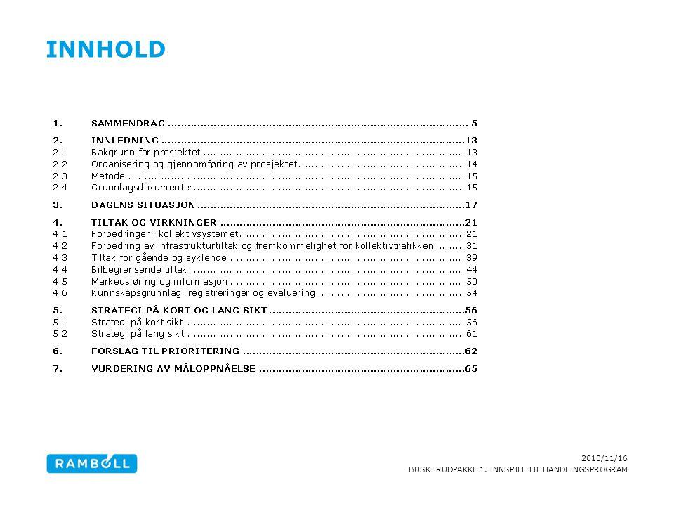2010/11/16 BUSKERUDPAKKE 1. INNSPILL TIL HANDLINGSPROGRAM INNHOLD