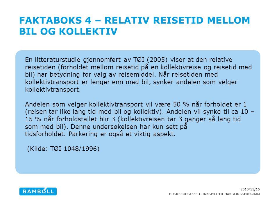 2010/11/16 BUSKERUDPAKKE 1. INNSPILL TIL HANDLINGSPROGRAM En litteraturstudie gjennomført av TØI (2005) viser at den relative reisetiden (forholdet me