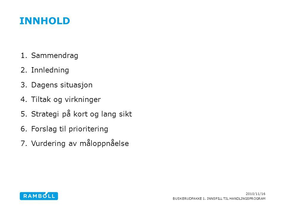 2010/11/16 BUSKERUDPAKKE 1. INNSPILL TIL HANDLINGSPROGRAM INNHOLD 1.Sammendrag 2.Innledning 3.Dagens situasjon 4.Tiltak og virkninger 5.Strategi på ko