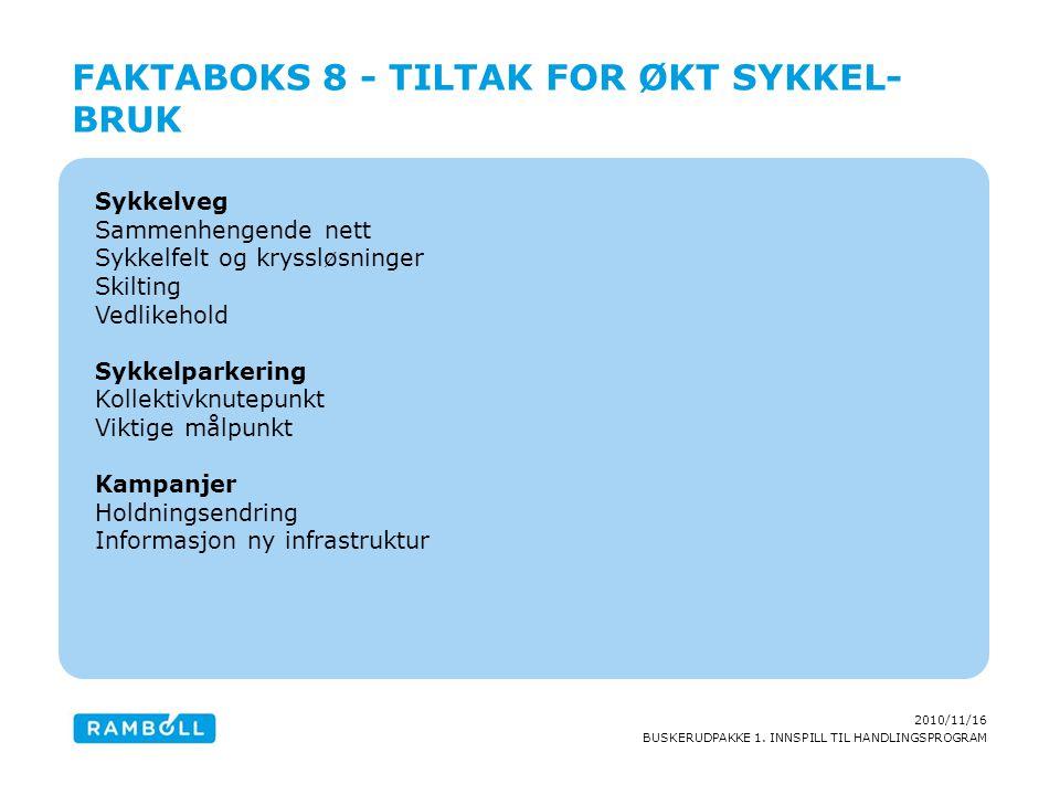 2010/11/16 BUSKERUDPAKKE 1. INNSPILL TIL HANDLINGSPROGRAM Sykkelveg Sammenhengende nett Sykkelfelt og kryssløsninger Skilting Vedlikehold Sykkelparker