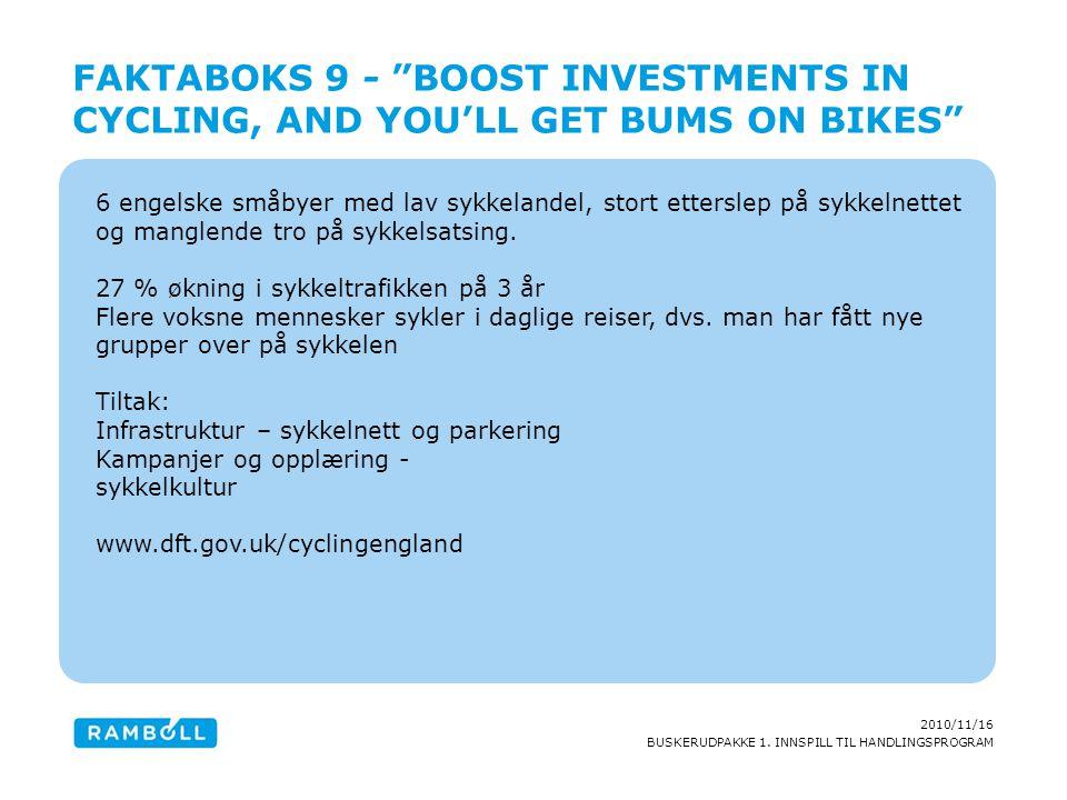 2010/11/16 BUSKERUDPAKKE 1. INNSPILL TIL HANDLINGSPROGRAM 6 engelske småbyer med lav sykkelandel, stort etterslep på sykkelnettet og manglende tro på