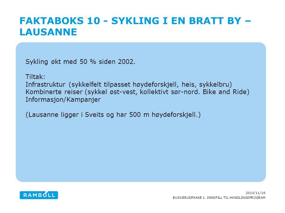 2010/11/16 BUSKERUDPAKKE 1. INNSPILL TIL HANDLINGSPROGRAM Sykling økt med 50 % siden 2002. Tiltak: Infrastruktur (sykkelfelt tilpasset høydeforskjell,