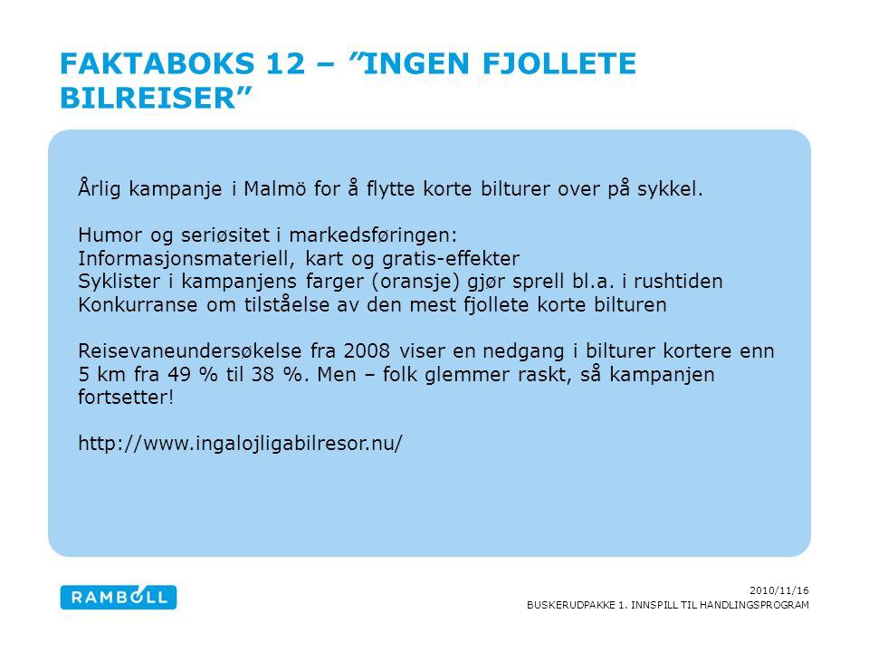 2010/11/16 BUSKERUDPAKKE 1. INNSPILL TIL HANDLINGSPROGRAM Årlig kampanje i Malmö for å flytte korte bilturer over på sykkel. Humor og seriøsitet i mar