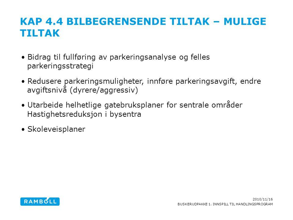 2010/11/16 BUSKERUDPAKKE 1. INNSPILL TIL HANDLINGSPROGRAM KAP 4.4 BILBEGRENSENDE TILTAK – MULIGE TILTAK Bidrag til fullføring av parkeringsanalyse og