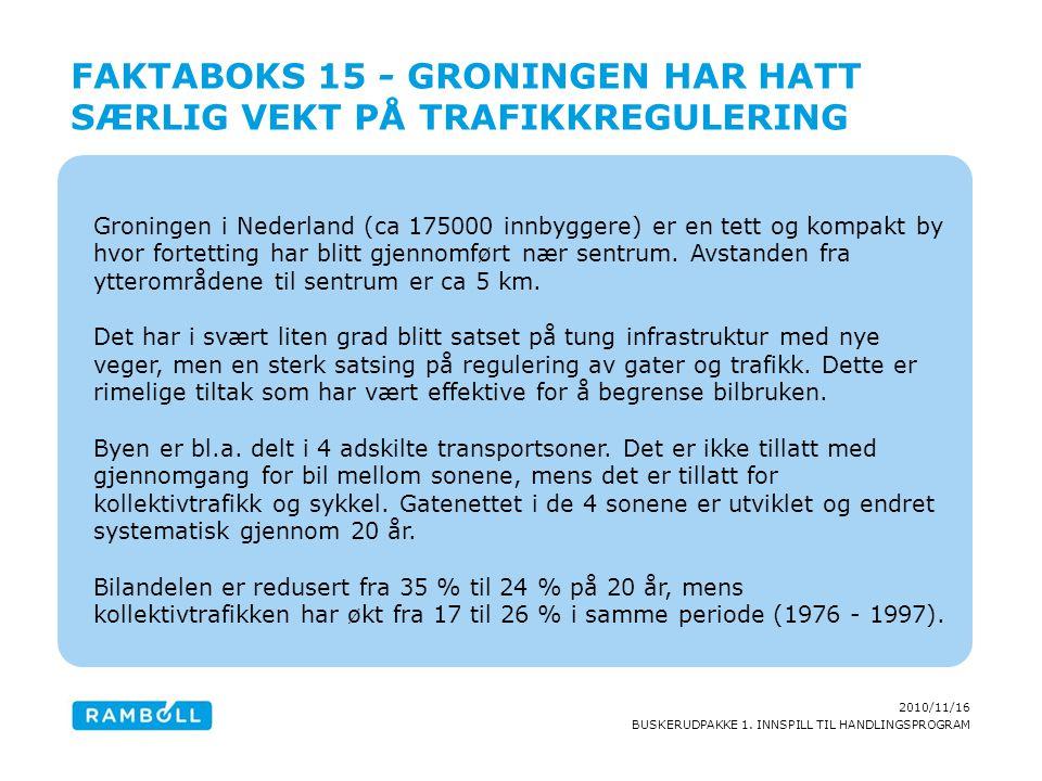 2010/11/16 BUSKERUDPAKKE 1. INNSPILL TIL HANDLINGSPROGRAM Groningen i Nederland (ca 175000 innbyggere) er en tett og kompakt by hvor fortetting har bl