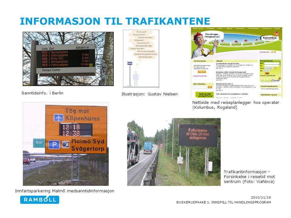 2010/11/16 BUSKERUDPAKKE 1. INNSPILL TIL HANDLINGSPROGRAM INFORMASJON TIL TRAFIKANTENE Illustrasjon: Gustav Nielsen Sanntidsinfo. i Berlin Nettside me