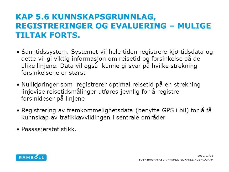 2010/11/16 BUSKERUDPAKKE 1. INNSPILL TIL HANDLINGSPROGRAM KAP 5.6 KUNNSKAPSGRUNNLAG, REGISTRERINGER OG EVALUERING – MULIGE TILTAK FORTS. Sanntidssyste