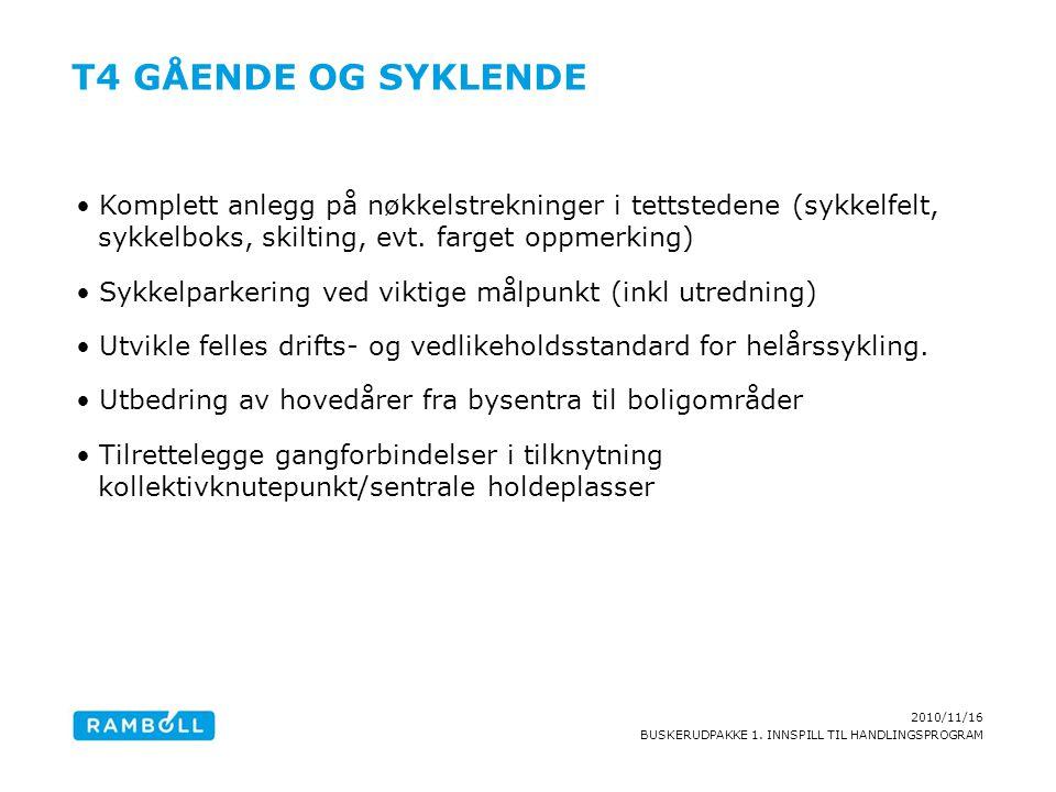 2010/11/16 BUSKERUDPAKKE 1. INNSPILL TIL HANDLINGSPROGRAM T4 GÅENDE OG SYKLENDE Komplett anlegg på nøkkelstrekninger i tettstedene (sykkelfelt, sykkel