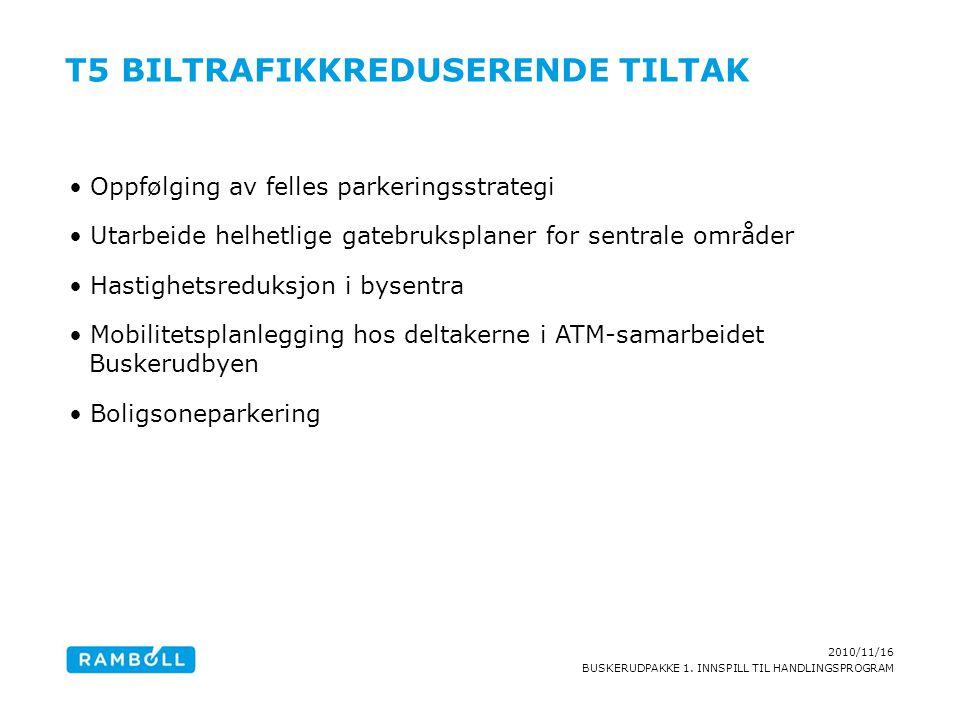 2010/11/16 BUSKERUDPAKKE 1. INNSPILL TIL HANDLINGSPROGRAM T5 BILTRAFIKKREDUSERENDE TILTAK Oppfølging av felles parkeringsstrategi Utarbeide helhetlige