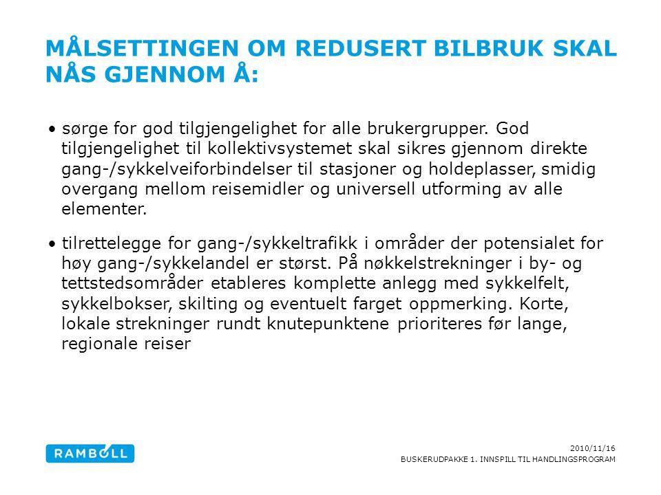 2010/11/16 BUSKERUDPAKKE 1. INNSPILL TIL HANDLINGSPROGRAM MÅLSETTINGEN OM REDUSERT BILBRUK SKAL NÅS GJENNOM Å: sørge for god tilgjengelighet for alle