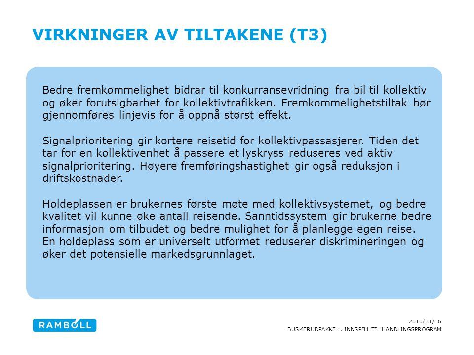 2010/11/16 BUSKERUDPAKKE 1. INNSPILL TIL HANDLINGSPROGRAM Bedre fremkommelighet bidrar til konkurransevridning fra bil til kollektiv og øker forutsigb