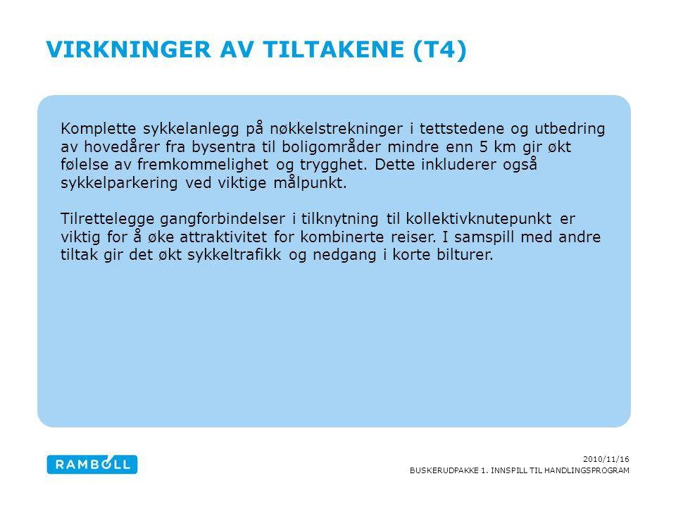 2010/11/16 BUSKERUDPAKKE 1. INNSPILL TIL HANDLINGSPROGRAM Komplette sykkelanlegg på nøkkelstrekninger i tettstedene og utbedring av hovedårer fra byse