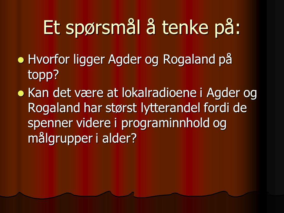 Et spørsmål å tenke på: Hvorfor ligger Agder og Rogaland på topp? Hvorfor ligger Agder og Rogaland på topp? Kan det være at lokalradioene i Agder og R
