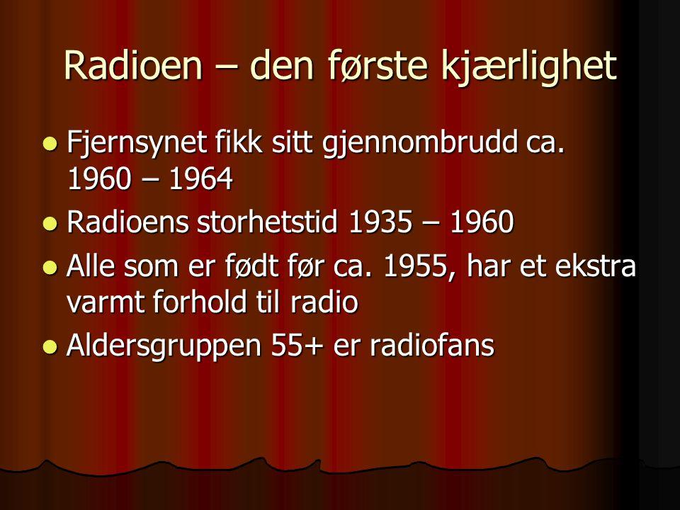 Radioen – den første kjærlighet Fjernsynet fikk sitt gjennombrudd ca. 1960 – 1964 Fjernsynet fikk sitt gjennombrudd ca. 1960 – 1964 Radioens storhetst