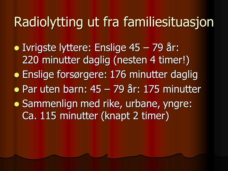 Radiolytting ut fra familiesituasjon Ivrigste lyttere: Enslige 45 – 79 år: 220 minutter daglig (nesten 4 timer!) Ivrigste lyttere: Enslige 45 – 79 år: