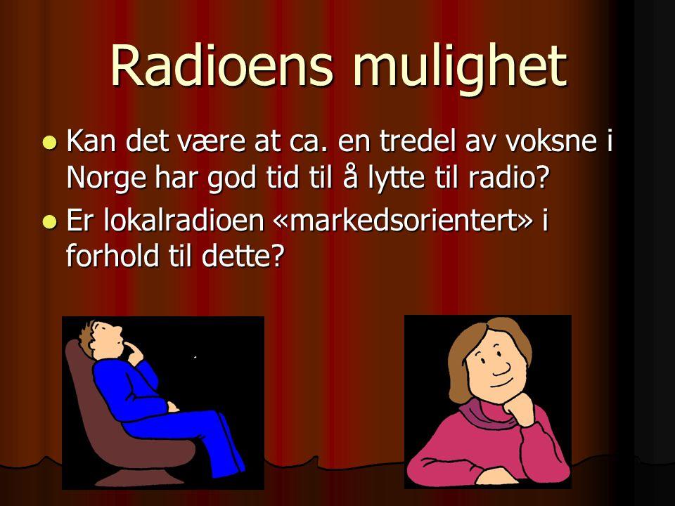Radioens mulighet Kan det være at ca. en tredel av voksne i Norge har god tid til å lytte til radio? Kan det være at ca. en tredel av voksne i Norge h