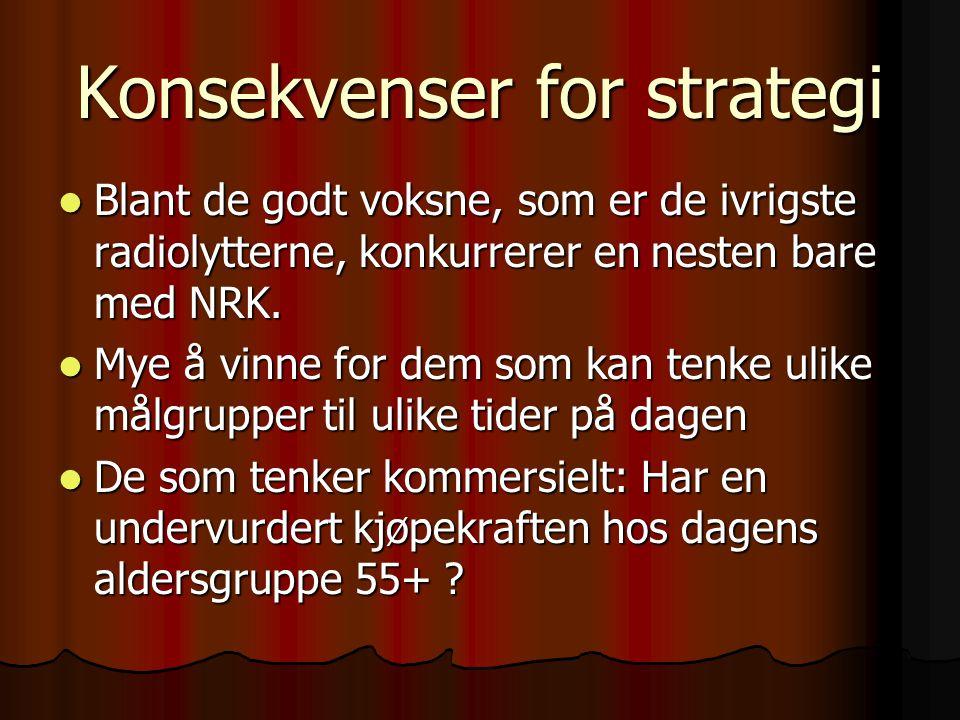 Konsekvenser for strategi Blant de godt voksne, som er de ivrigste radiolytterne, konkurrerer en nesten bare med NRK. Blant de godt voksne, som er de
