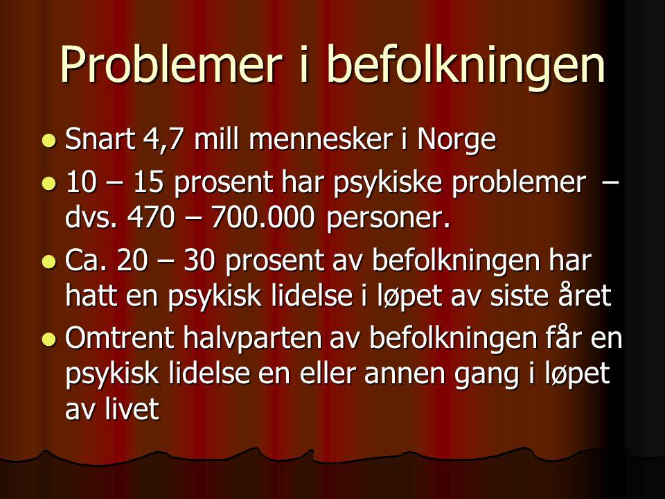 Problemer i befolkningen Snart 4,7 mill mennesker i Norge Snart 4,7 mill mennesker i Norge 10 – 15 prosent har psykiske problemer – dvs. 470 – 700.000