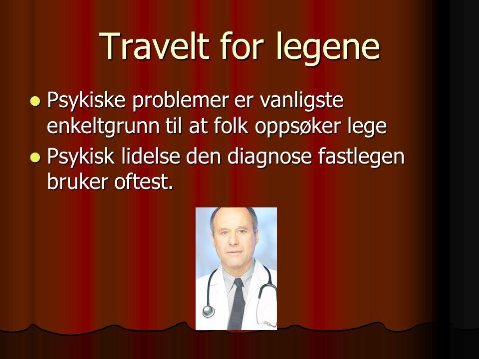 Travelt for legene Psykiske problemer er vanligste enkeltgrunn til at folk oppsøker lege Psykiske problemer er vanligste enkeltgrunn til at folk oppsø