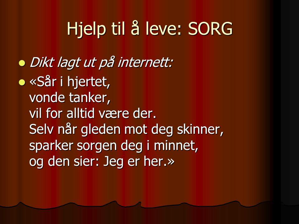 Hjelp til å leve: SORG Dikt lagt ut på internett: Dikt lagt ut på internett: «Sår i hjertet, vonde tanker, vil for alltid være der. Selv når gleden mo