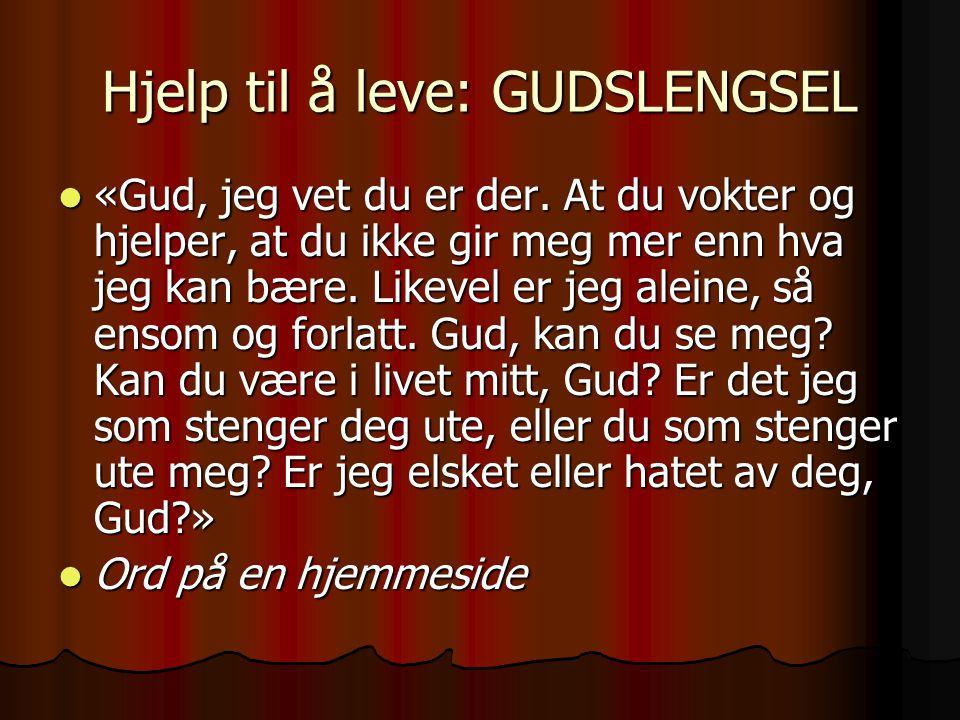 Hjelp til å leve: GUDSLENGSEL «Gud, jeg vet du er der. At du vokter og hjelper, at du ikke gir meg mer enn hva jeg kan bære. Likevel er jeg aleine, så