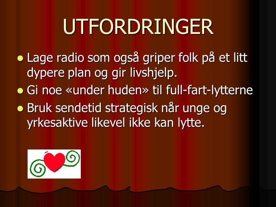 UTFORDRINGER Lage radio som også griper folk på et litt dypere plan og gir livshjelp. Lage radio som også griper folk på et litt dypere plan og gir li