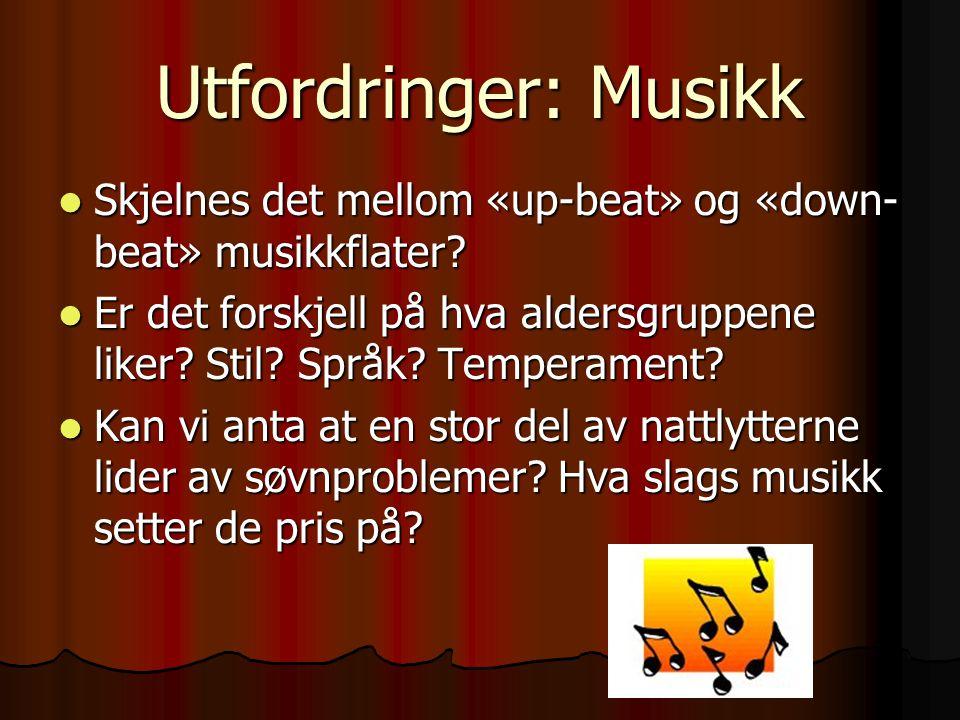 Utfordringer: Musikk Skjelnes det mellom «up-beat» og «down- beat» musikkflater? Skjelnes det mellom «up-beat» og «down- beat» musikkflater? Er det fo