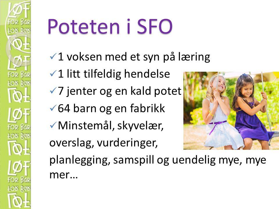 Poteten i SFO 1 voksen med et syn på læring 1 litt tilfeldig hendelse 7 jenter og en kald potet 64 barn og en fabrikk Minstemål, skyvelær, overslag, v