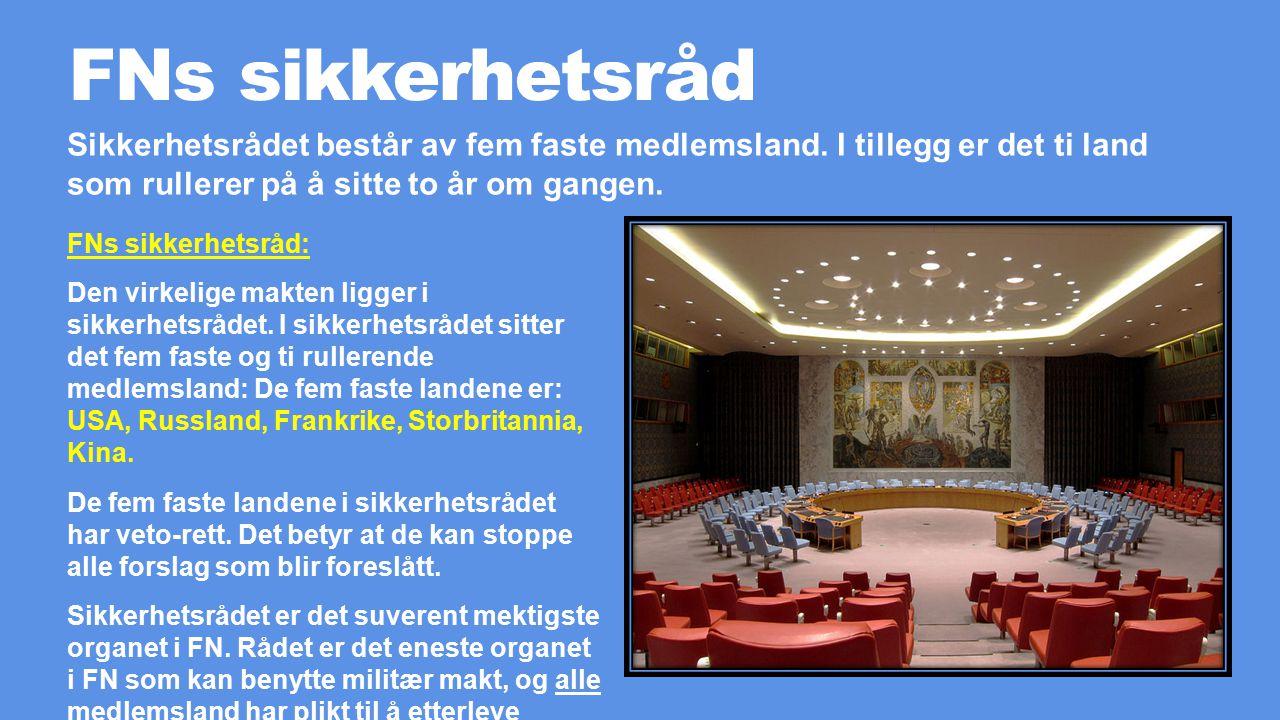 FNs sikkerhetsråd FNs sikkerhetsråd: Den virkelige makten ligger i sikkerhetsrådet.