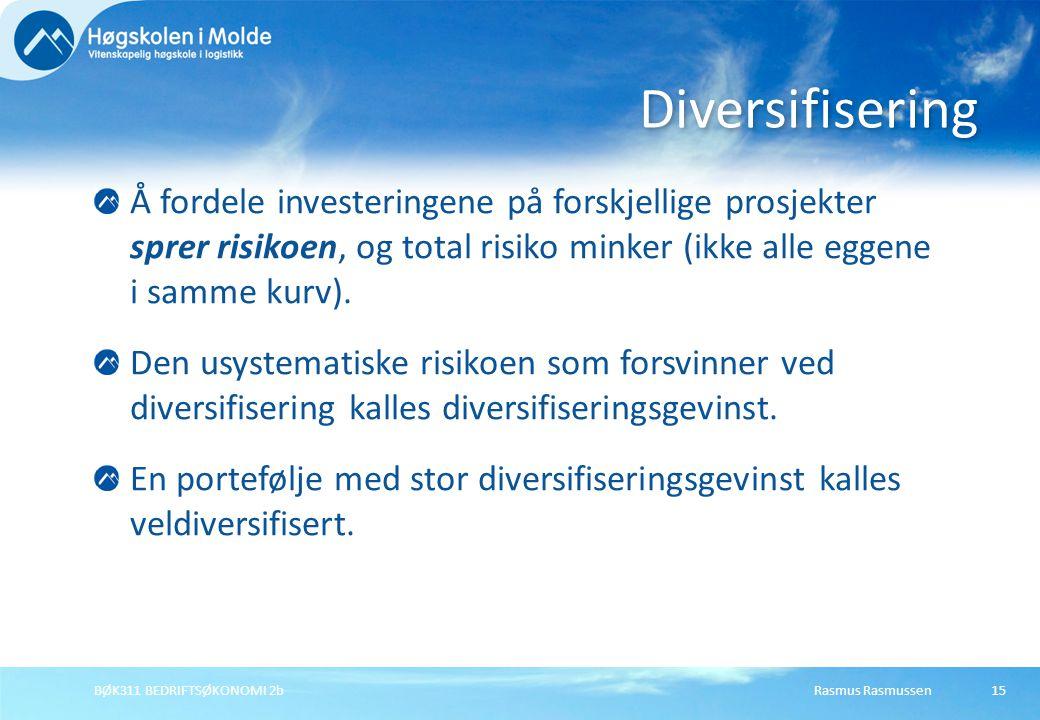 Rasmus RasmussenBØK311 BEDRIFTSØKONOMI 2b15 Å fordele investeringene på forskjellige prosjekter sprer risikoen, og total risiko minker (ikke alle egge