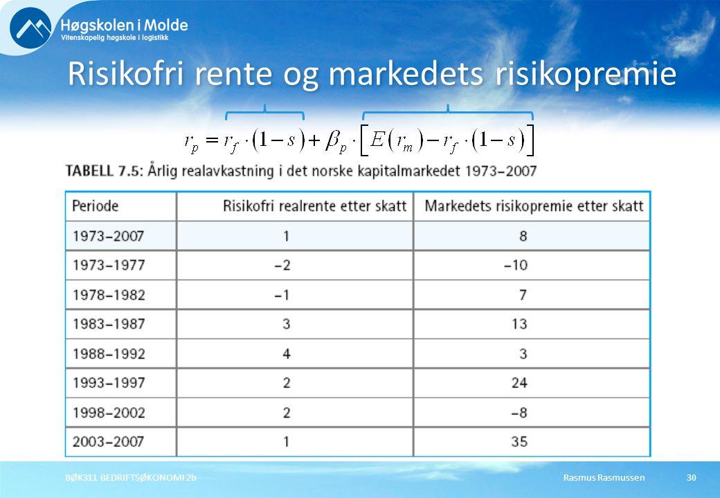 Rasmus RasmussenBØK311 BEDRIFTSØKONOMI 2b30 Risikofri rente og markedets risikopremie