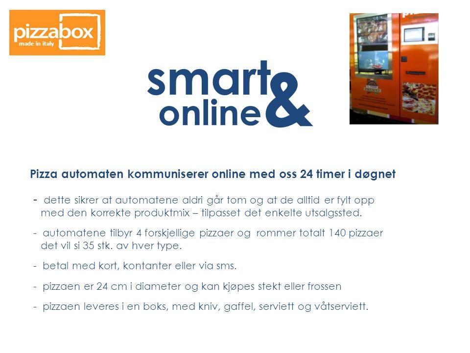 smart & online Pizza automaten kommuniserer online med oss 24 timer i døgnet - dette sikrer at automatene aldri går tom og at de alltid er fylt opp med den korrekte produktmix – tilpasset det enkelte utsalgssted.