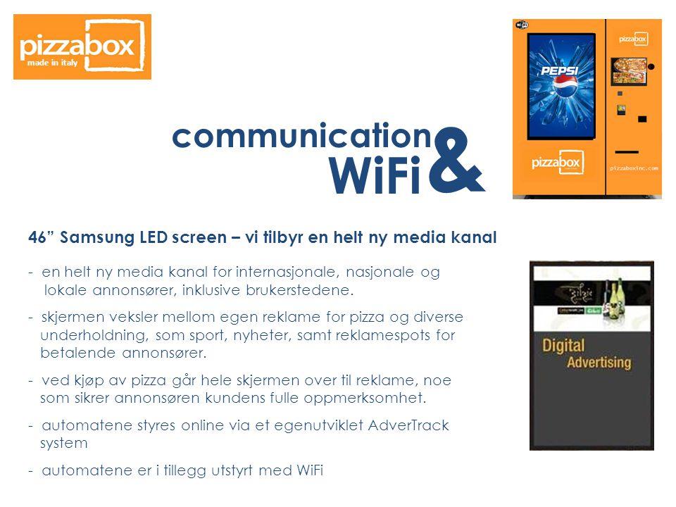 communication & WiFi made in italy 46 Samsung LED screen – vi tilbyr en helt ny media kanal - en helt ny media kanal for internasjonale, nasjonale og lokale annonsører, inklusive brukerstedene.