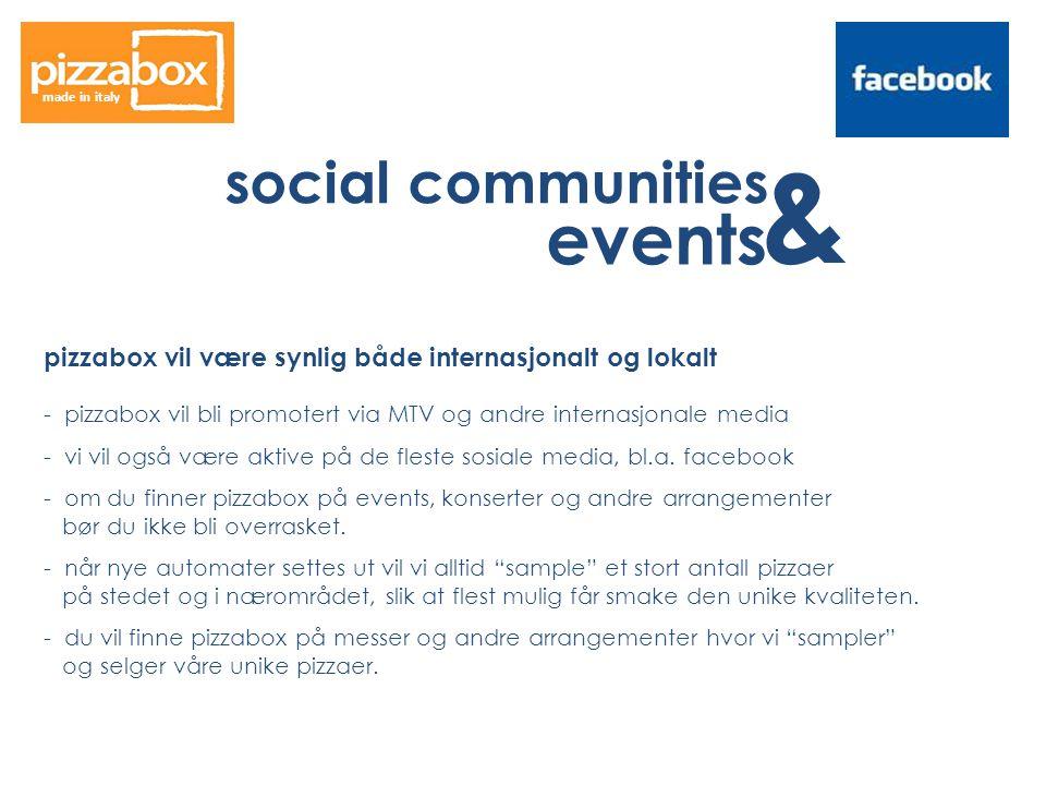 social communities & events made in italy pizzabox vil være synlig både internasjonalt og lokalt - pizzabox vil bli promotert via MTV og andre internasjonale media - vi vil også være aktive på de fleste sosiale media, bl.a.