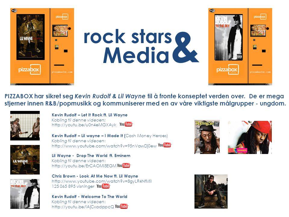 rock stars & Media PIZZABOX har sikret seg Kevin Rudolf & Lil Wayne til å fronte konseptet verden over. De er mega stjerner innen R&B/popmusikk og kom