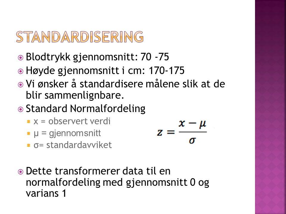  Blodtrykk gjennomsnitt: 70 -75  Høyde gjennomsnitt i cm: 170-175  Vi ønsker å standardisere målene slik at de blir sammenlignbare.