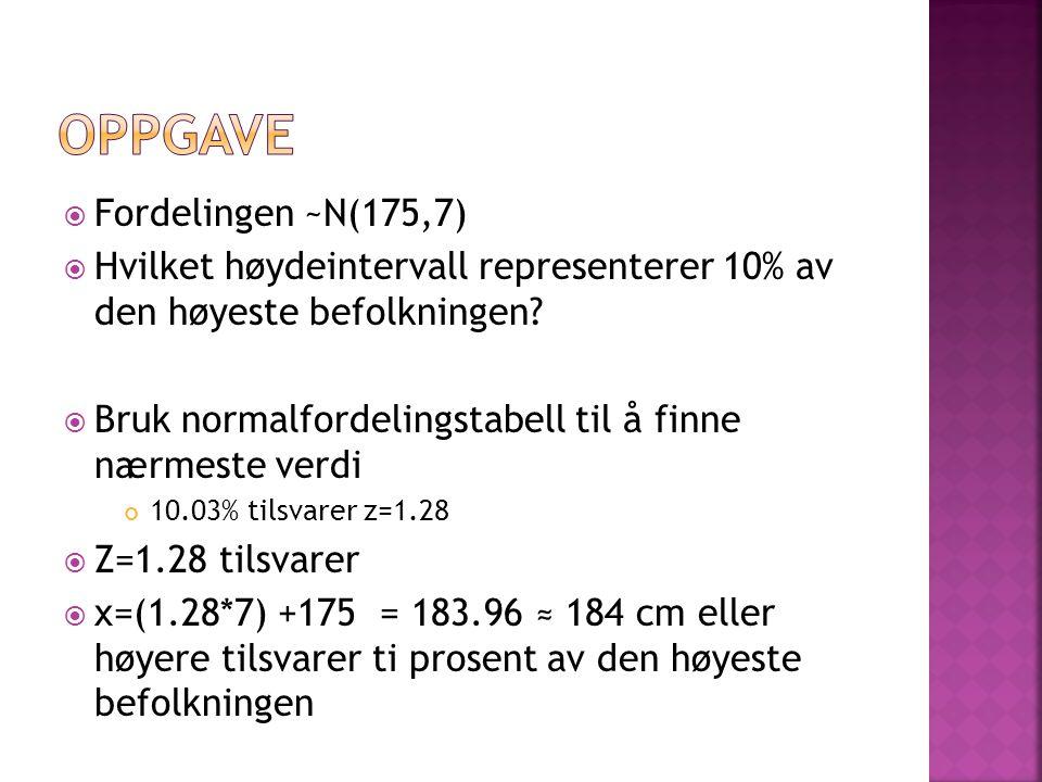  Fordelingen ~N(175,7)  Hvilket høydeintervall representerer 10% av den høyeste befolkningen.