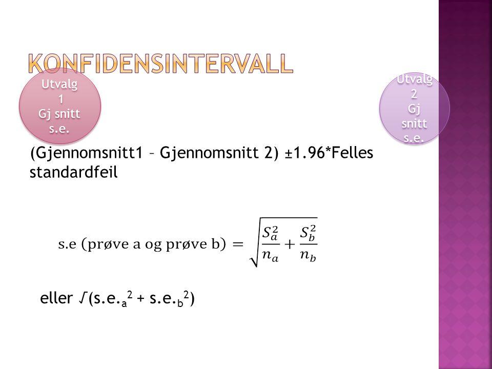 (Gjennomsnitt1 – Gjennomsnitt 2) ±1.96*Felles standardfeil Utvalg 1 Gj snitt s.e.