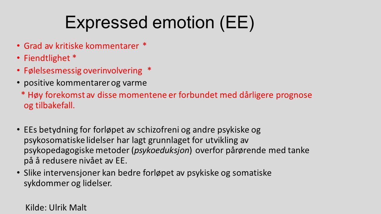 Expressed emotion (EE) Grad av kritiske kommentarer * Fiendtlighet * Følelsesmessig overinvolvering * positive kommentarer og varme * Høy forekomst av disse momentene er forbundet med dårligere prognose og tilbakefall.