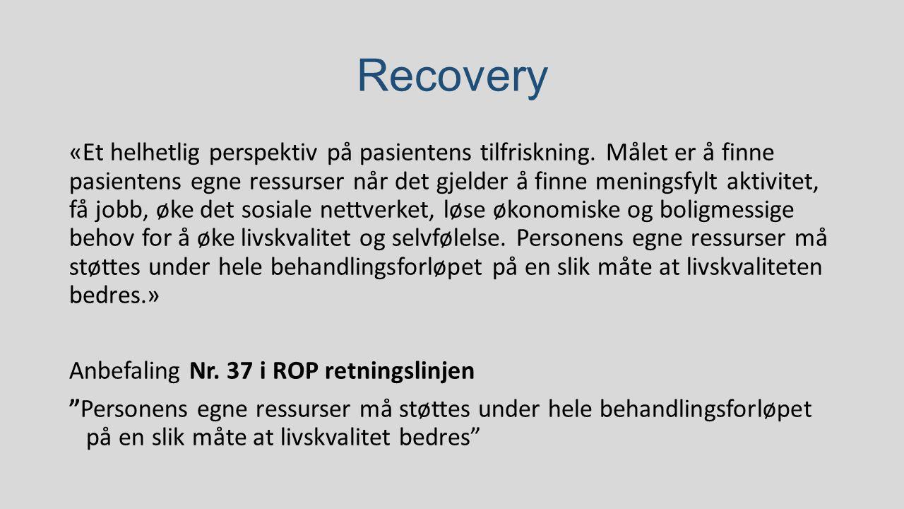 Recovery «Et helhetlig perspektiv på pasientens tilfriskning. Målet er å finne pasientens egne ressurser når det gjelder å finne meningsfylt akti
