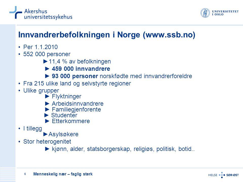 Menneskelig nær – faglig sterk 6 Innvandrerbefolkningen i Norge (www.ssb.no) Per 1.1.2010 552 000 personer ►11,4 % av befolkningen ► 459 000 innvandre
