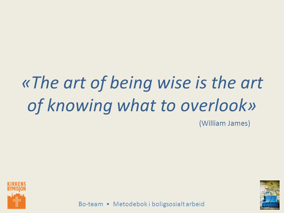 Bo-team Metodebok i boligsosialt arbeid «The art of being wise is the art of knowing what to overlook» (William James)