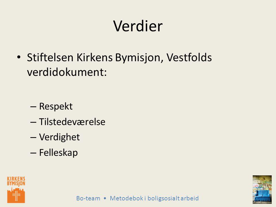 Bo-team Metodebok i boligsosialt arbeid Verdier Stiftelsen Kirkens Bymisjon, Vestfolds verdidokument: – Respekt – Tilstedeværelse – Verdighet – Felleskap