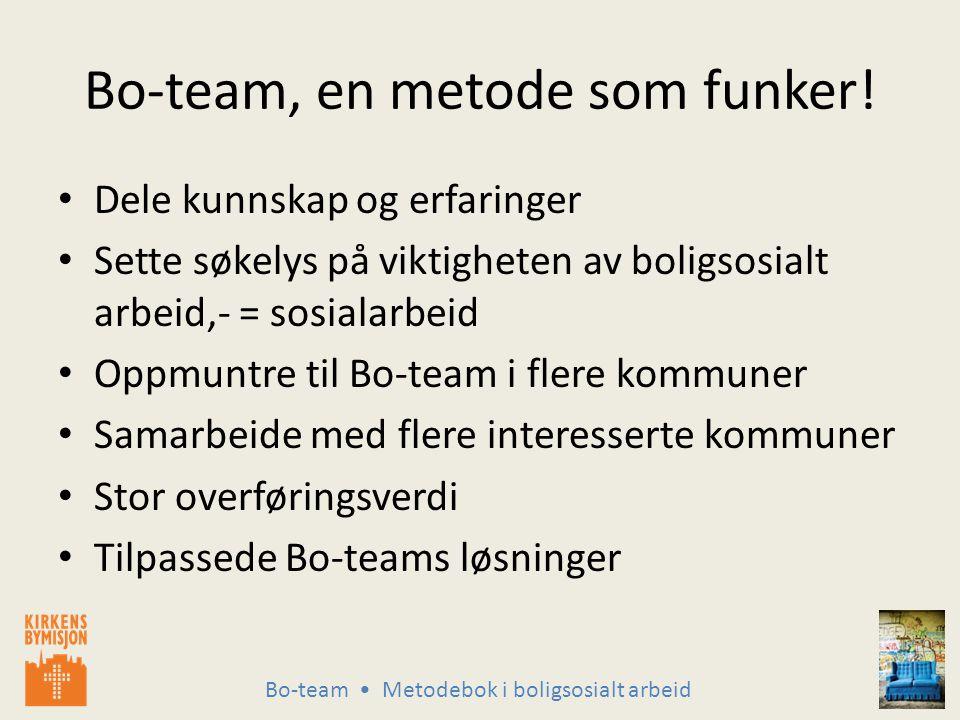 Bo-team Metodebok i boligsosialt arbeid Bo-team, en metode som funker.