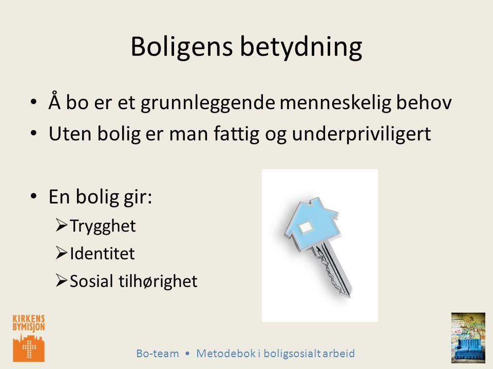 Bo-team Metodebok i boligsosialt arbeid Uten bolig minsker integreringen og deltagelsen i samfunnet.