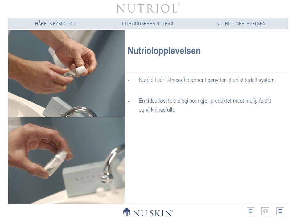 HÅRETS FYSIOLOGIINTRODUSERER NUTRIOLNUTRIOL-OPPLEVELSEN  Nutriolopplevelsen  Nutriol Hair Fitness Treatment benytter et unikt todelt system.  En