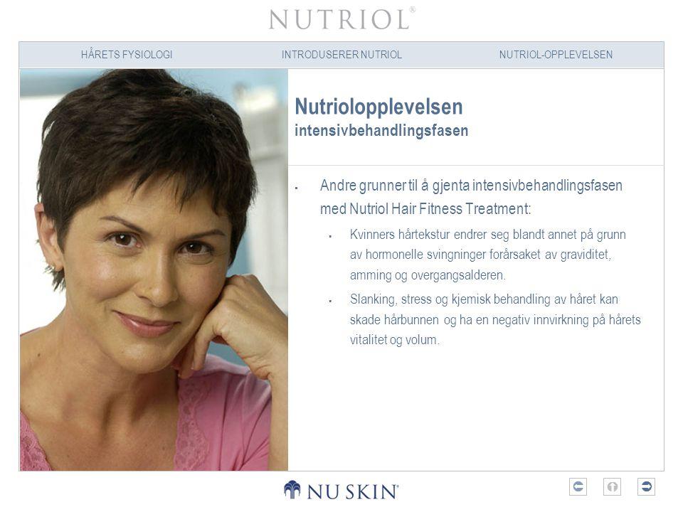 HÅRETS FYSIOLOGIINTRODUSERER NUTRIOLNUTRIOL-OPPLEVELSEN  Nutriolopplevelsen intensivbehandlingsfasen  Andre grunner til å gjenta intensivbehandlin